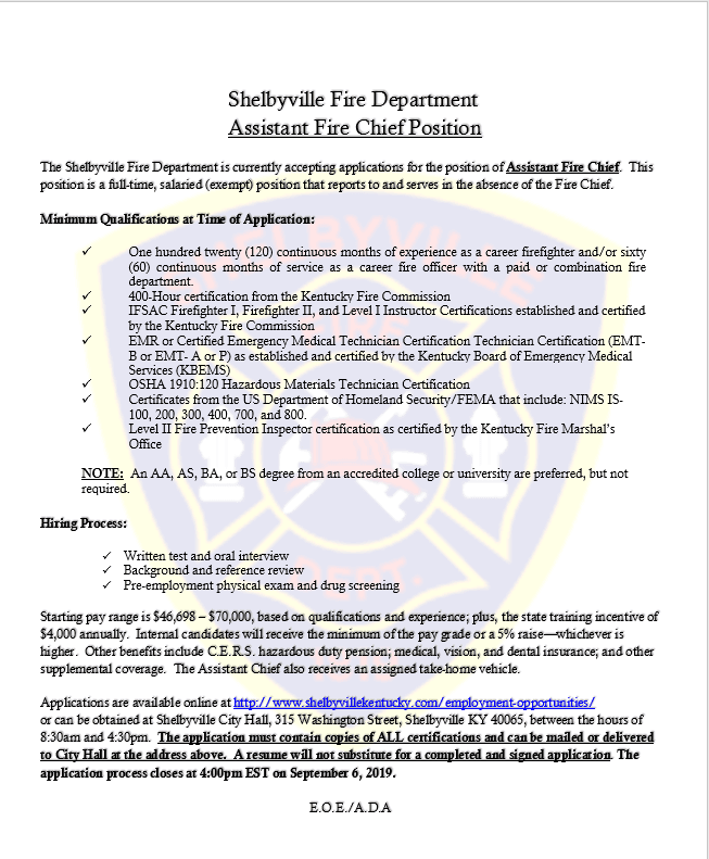 Revised Assist Fire Chief 2019-08-20
